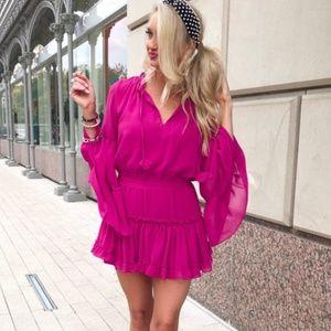 Misa Los Angeles Leeva Pink Ruffle Dress Medium